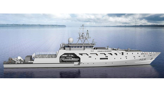 Providing surveillance and protection for France's extensive exclusive economic zones, the French Navy's patrouilleurs d'outre-mer (POM) vessels will feature PLD-5000 fast rescue boat davit systems (illustration: Socarenam)