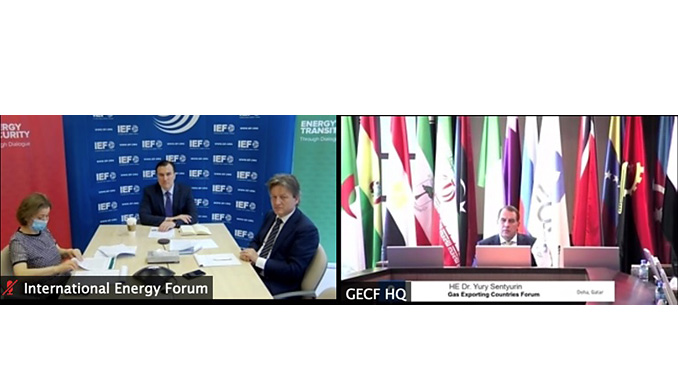 Virtual meeting between new IEF Secretary General HE Joseph McMonigle and HE Yury Sentyurin to review ongoing and future cooperation (photo: GECF)