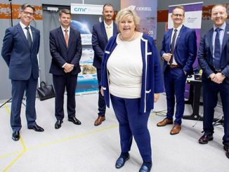 Project partners present the solution to the Norwegian Prime Minister, Erna Solberg at the Sustainable Energy Norwegian Catapult Centre – from left: Bernt Skeie, Prototech CEO; Harald Fotland, Oddfjell COO; Erik Hjortland, Oddfjell Vice President of Technology; Hans-Petter Nesse, Wärtsilä Norway Managing Director; and Willy Vågen, Sustainable Energy Norwegian Catapult Centre CEO (photo: Norwegian Catapult Centre)