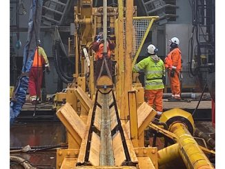 The drill core is on its way up to the deck
