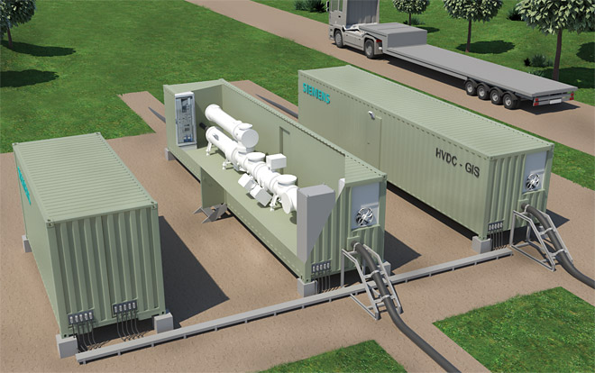 Siemens Energy's DC GIS for rated voltages of up to ±550 kV can be delivered prefabricated and pretested in modular containers (illustration: Siemens Energy)
