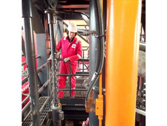 AGR Kinsale project team staff on the Hydraulic Workover Unit on Kinsale Alpha, offshore Ireland