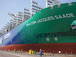 The world's largest cargo ship powered by LNG, the CMA CGM 'Jacques Saadé'