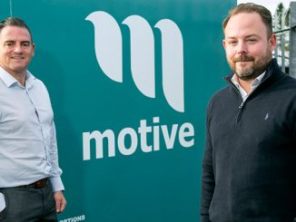 From left, Motive Offshore CEO Dave Acton and CFO Declan Slattery at the company's Kintore facility