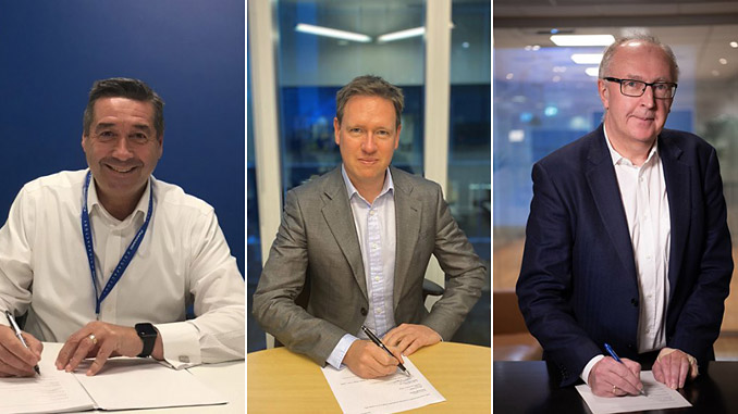The MoU for the strategic partnership was signed by (from left) Allan Swan, President of Panasonic Energy North America; Al Cook, Executive Vice President of Global Strategy & Business Development in Equinor; and Arvid Moss, Executive Vice President of Energy and Corporate Development in Hydro