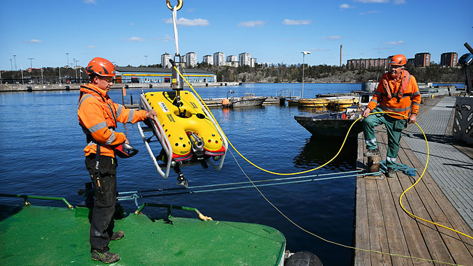 Saab Seaeye Falcon – A multi-functional resource in support of Peab Marin's marine survey, salvage and civil construction operations (photo: Peter Steen)