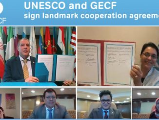 Clockwise from top left, HE Sentyurin and HE Nair-Bedouelle hold up the signed copies of the MoU as officials from UNESCO regional office and the GECF Secretariat look on