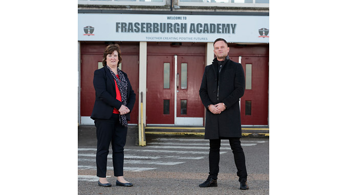 Irene Sharp, rector of Fraserburgh Academy, and Gareth Innes, chief engineering & commercial officer of TWMA