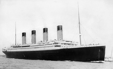 'RMS Titanic' departing Southampton on 10 April 1912, 5 days before it sank in the North Atlantic on 15 April