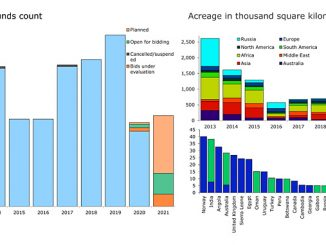 Global lease count by status and licenced acreage 2013-2020 / 2020 acreage by country (source: Rystad Energy ECube)