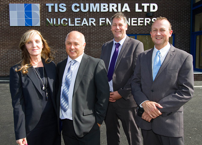 Tony O'Pray, (second from left), joint-owner of TIS Cumbria Ltd, which has formed a collaborative partnership with McMenon Engineering Services to give the businesses the scale, capacity and capability to compete for, and deliver, multi-million pound projects with Sellafield and other operators in the nuclear industry. TIS board of directors (From left): Anne O'Pray, Director; Tony O'Pray Joint-Owner; John Bragg, Joint-Owner; Paul Edmondson, Director