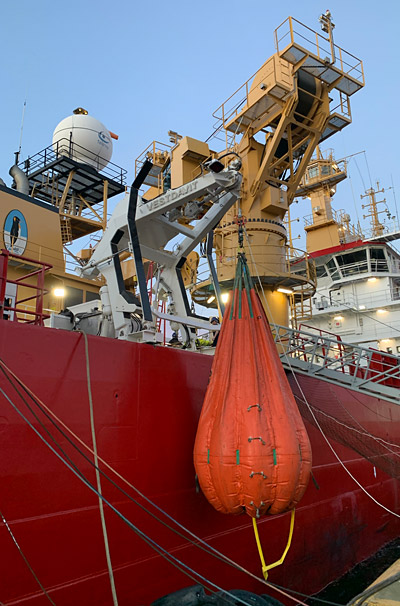 'HMS Protector's' enhanced PLR-5000 during its recent commissioning; here, the specially sourced cylinders can be seen in operation on the guiding arms