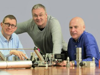 From left, Stuart Ferguson, CEO at Well-SENSE and FrontRow Energy Technology Group; Graeme Coutts, Chairman at FrontRow and Colin Smith, Director at Well-SENSE and FrontRow, pictured with FiberLine Intervention technology components