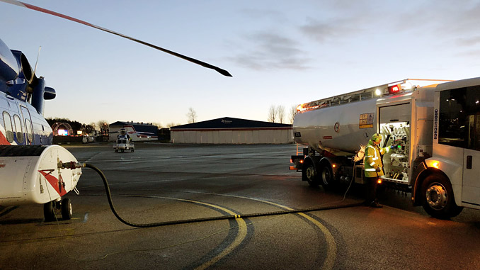 Bristow Ground Operations Officer Tim Leitch prepares to refuel an S-92 at Aberdeen, UK