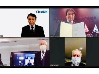 Online Certificate Delivery Ceremony: top right, Takakage Imai, President, MOL Ship Management Co., Ltd.; bottom right, Master of M/V 'Orca Ace', Capt. Sergey Nichiporenko; bottom left, Satoshi Fujii, General Manager, Mitsui O.S.K. Lines, Ltd.; and top left, Yoshinori Kozeki, Corporate Officer, ClassNK