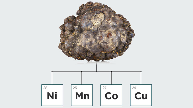 The high-grade, polymetallic nodules contain high grades of four battery metals in a single ore