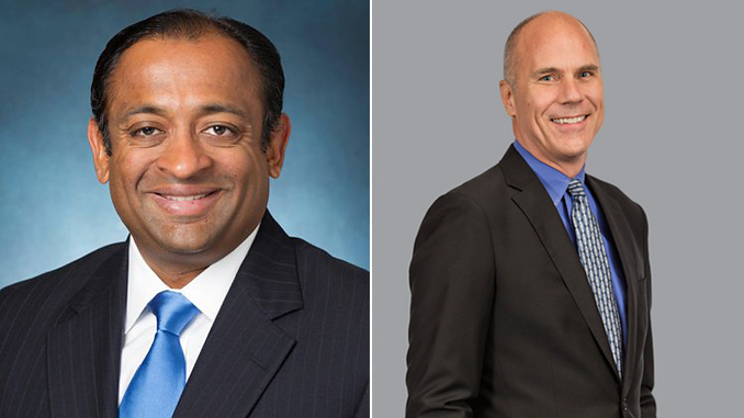 From left, Ram Krishnan, Executive Vice President and Chief Operating Office, and Mark Bulanda, Executive President of Automation Solutions