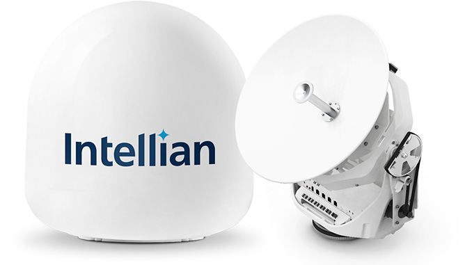 Intellian's innovative v45C antenna offers a compact VSAT solution for space-limited installations