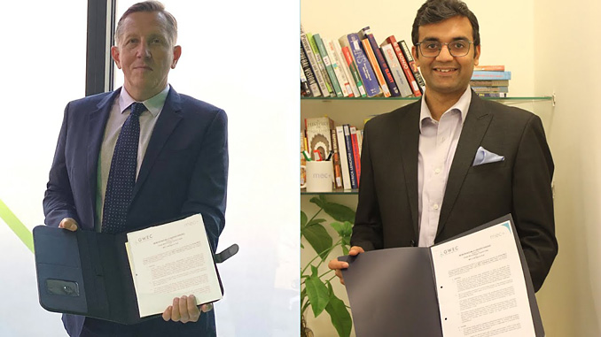 Ben Backwell, CEO at GWEC, and Sidharth Jain, Founder and CEO at MEC+, sign MoU