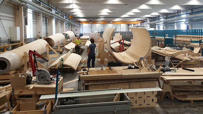Modvion specialises in the development and manufacturing of wind turbine towers made from laminated veneer lumber