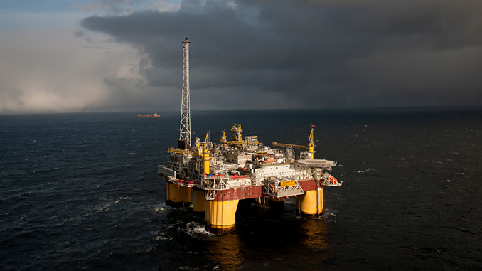 Åsgard B floating production platform in the Norwegian Sea