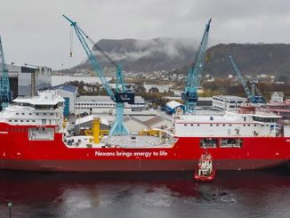 Cable-laying vessel 'Nexans Aurora', featuring the MissionEase system incorporated in the hull, docked at Ulstein Verft in Norway