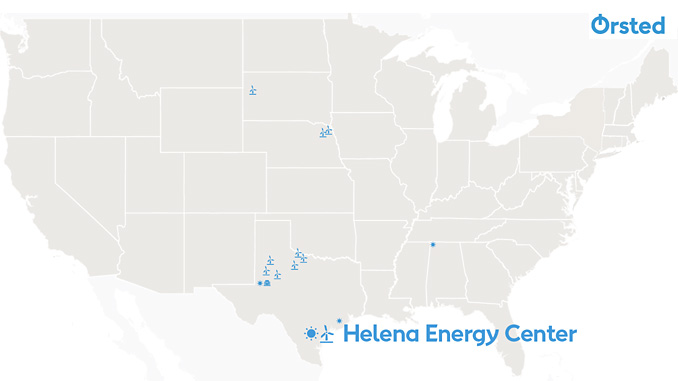 The combined wind and solar PV project Helena Energy Center in South Texas