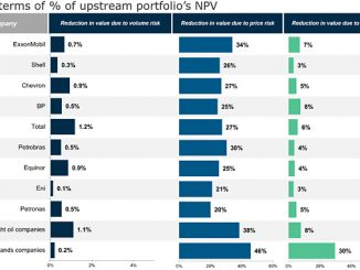 Value at risk for some of the peer group companies by risk type (source: Rystad Energy UCube)