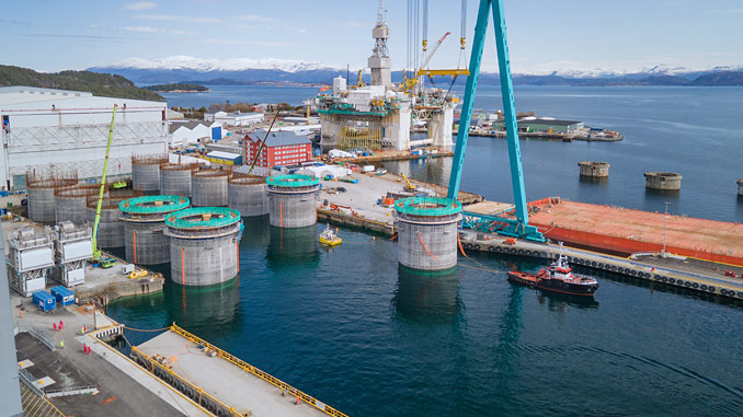 Finalised concrete foundations for Hywind Tampen at Aker Solutions' Stord yard (photo: Aker Solutions)