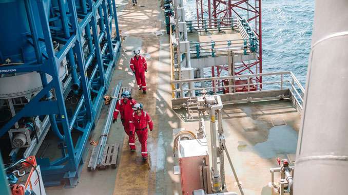 Workers on the Johan Sverdrup field centre in the North Sea