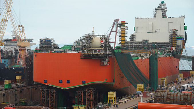 The Johan Castberg production vessel at Sembcorp Marine in Singapore