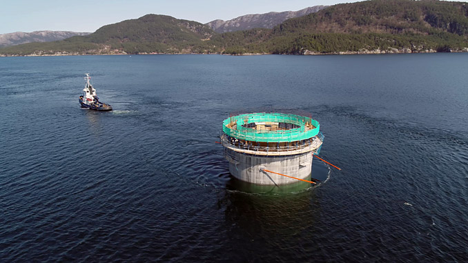 11 substructures are transported from the Aker Solutions yard at Stord to the deep-water site at Dommersnes