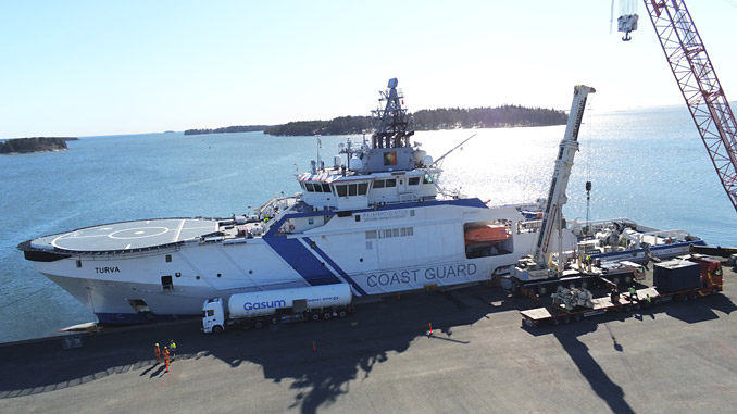 The 'Turva' – seen here being fuelled with Bio LNG for the testing programme