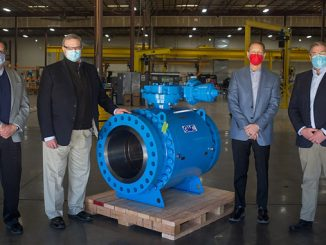 GWC Italia has joined forces with Marshall Rodeno: Pictured at the GWC manufacturing facility in Bakersfield, California are (from left) Ron Patron, Marshall Rodeno; Ken Hitron, Marshall Rodeno; Marc Thurmond, GWC; and Matt Hayden, Marshall Rodeno