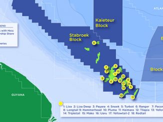 The Stabroek Block, located approximately 200 kilometres offshore Guyana, is 626,800 square kilometres