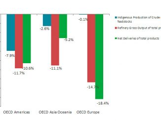 Oil growth rate per flow and OECD region in January 2020 (y-o-y) (source: IEA)