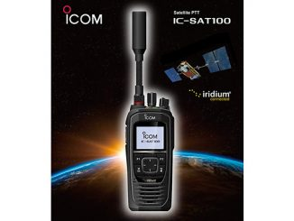 The IC-SAT100 provides a true Land Mobile Radio experience with an IP67-rated durable housing, large front-ported speaker for loud audio, a top mounted on/off volume selector, talkgroup selector for 'no-look' operation, and a field replaceable antenna