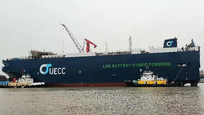 UECC's first LNG battery hybrid PCTC on the water (photo: UECC)