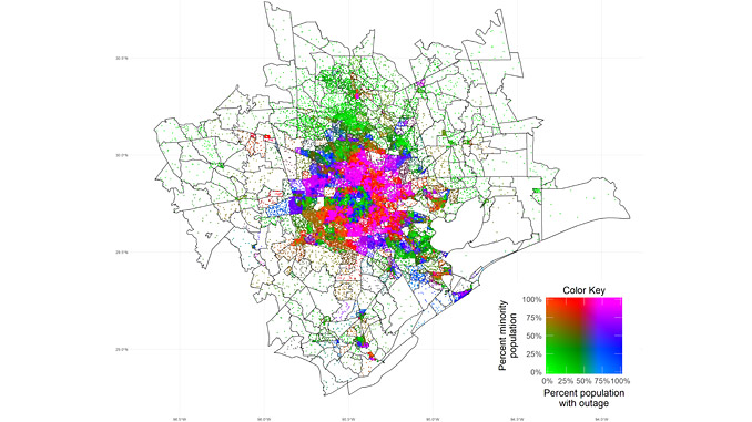 Map of the Houston, Texas, Metropolitan Statistical Area showing minority status and blackout share by population during the winter storms of 14-18 February 2021 – each dot represents 100 people (illustration: e-GUIDE)