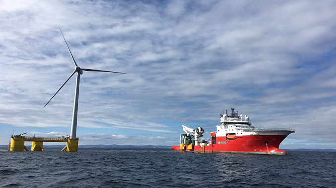 Global Marine Group's 'CS Sovereign' working close to a Pemex offshore wind platform