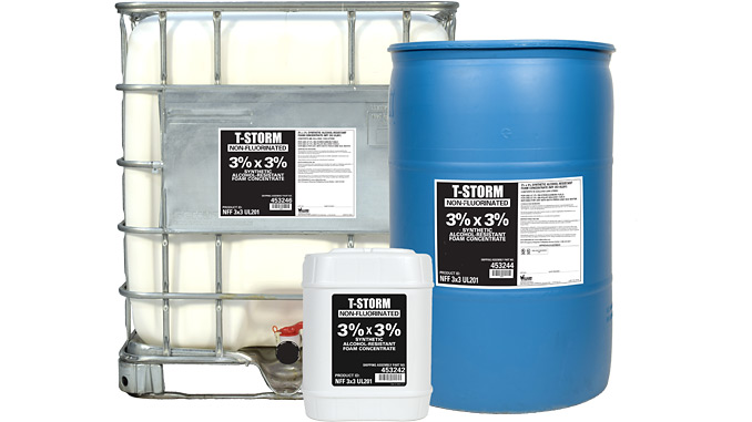 T-STORM® NFF 3x3 UL201 Foam Concentrate: Non-fluorinated foam concentrate verified to achieve control and extinguishment at the same application rates as a UL 162 listed AR-AFFF on Type III hydrocarbon fuel fires