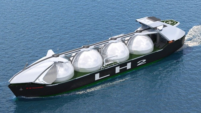 Large liquefied hydrogen carrier (cargo carrying capacity: 40,000 cubic metres x 4 tanks)