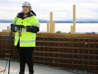 Norway's Prime Minister Erna Solberg speaks at the opening of Northern Lights Øygarden (photo: Arvid Samland/Office of the Prime Minister)