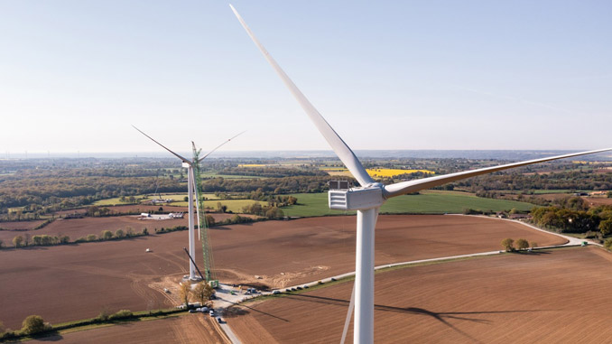Le Champvoisin wind farm in Fomperron, in the Deux-Sevres region, France