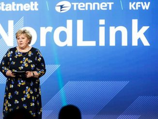 Norway's Prime Minister Erna Solberg speaking during the event