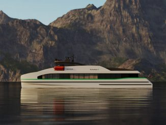 The fully electric, zero-emission fast ferry Medstraum now under construction at Norwegian shipyard Fjellstrand