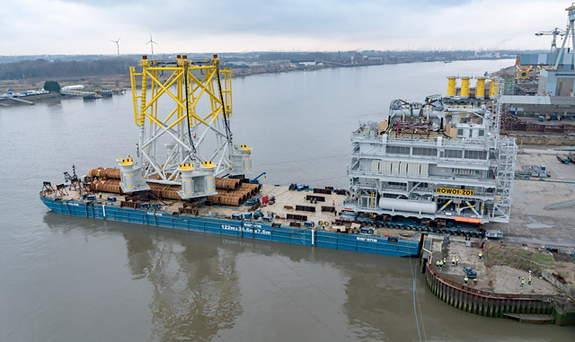 In 2017, Sarens transported this substation from Antwerp, Belgium, to the Racebank wind farm in the North Sea
