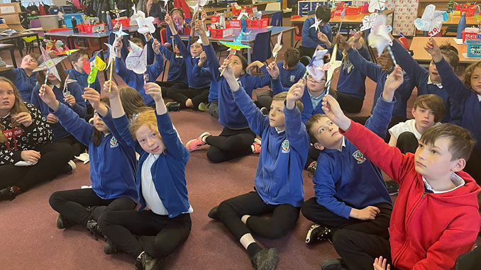 Pupils from Dyce Primary made their own wind turbines as part of the STEM in the Installation workshop