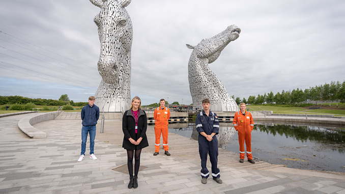 The apprentices: back row from left, Adam Hunter (Forth Ports), Andrew Wilson (Petroineos), Lewis Henderson (Petroineos); front row, Olivia Reid (Falkirk Council) and Connor Currie (Balfour Beatty) (photo: Fuel Change)