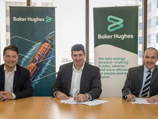 The Chevron Australia and Baker Hughes leadership teams at the contract signing ceremony in July 2021 in Perth, Western Australia – from left, Derek Price, VP Oilfield Equipment APAC, Baker Hughes; Tom Koren, General Manager, Capital Projects, Chevron Australia; and Graham Gillies, VP APAC, Baker Hughes
